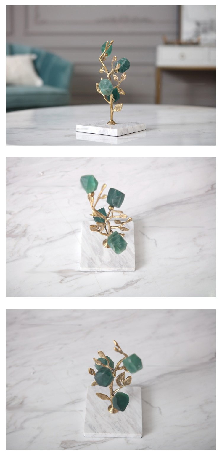 Creative Modern Flower Shape Green Crystal Statue Home Decor Crafts Room Decoration Objects Office White Marble Copper Figurines