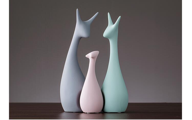 Nordic Pink Green Ceramic Deer Rabbit Figurines Home Decoration Crafts Livingroom Desktop Animal Ornaments Modern Wedding Gifts