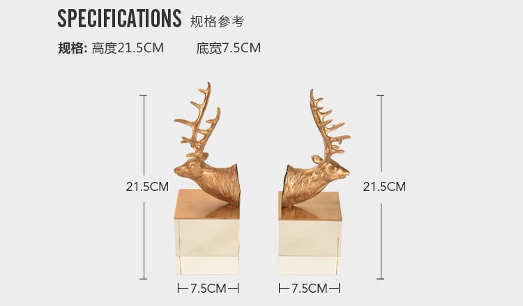 Luxurious Creative Metal Copper Antelope Head Shape Statue Home Decor Crafts Room Decoration Objects Office Crystal Figurines