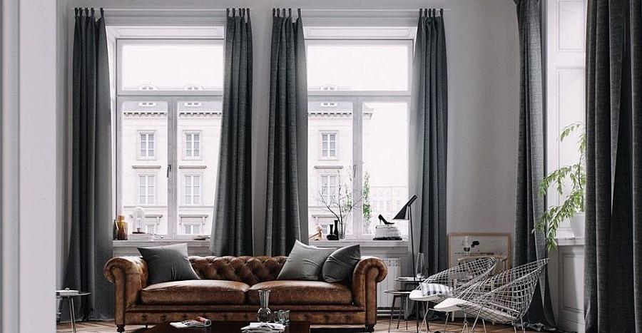 تصميم الستائر في داخل غرفة المعيشة وغرفة النوم