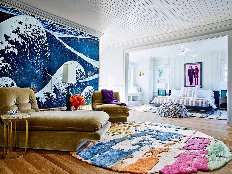 سجادة ملونة في تصميم غرفة المعيشة