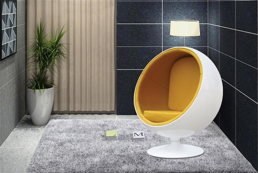 كرسي كرة منجد باللون الأصفر من Instyle Modern