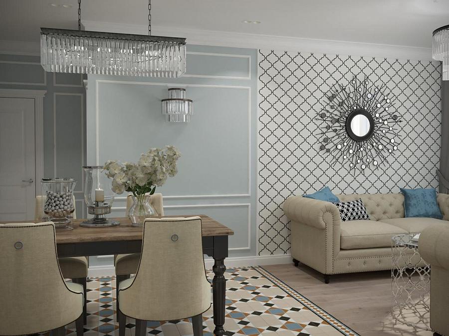 مرآة الشمس على الحائط مع ورق الحائط في غرفة المعيشة وتناول الطعام