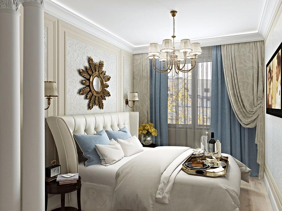 مرآة ندفة الثلج فوق السرير في غرفة النوم
