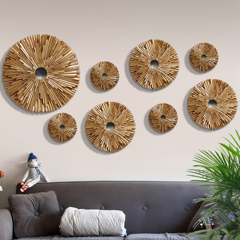 Modern Creative Luxury Wall Hanging Resin Round Decoration Crafts Home Wall TV background Wall Stereo 3D Pendant Murals Ornament