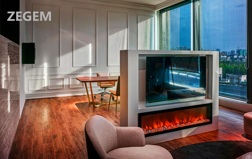 250cm length led light Embedded electric fireplace no heat