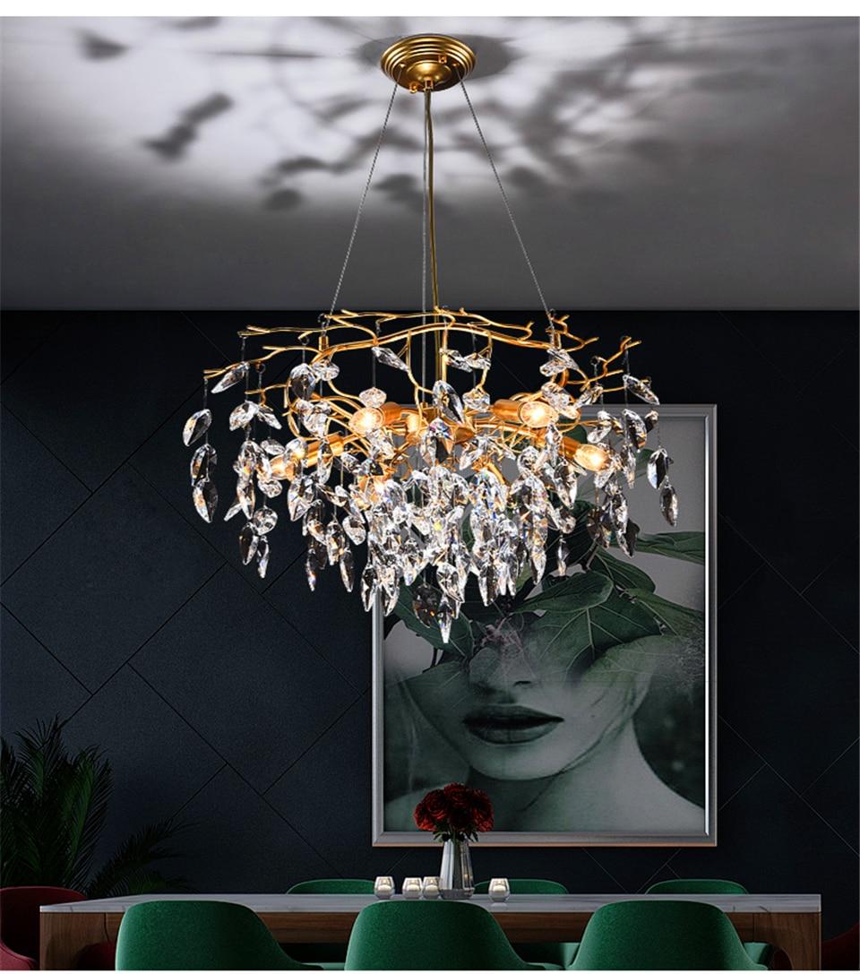 Modern LED Crystal Chandelier for Living Room Luster Chandelier Hotel Hall Indoor Decor Restaurant Nordic Hanging Lamp Lighting