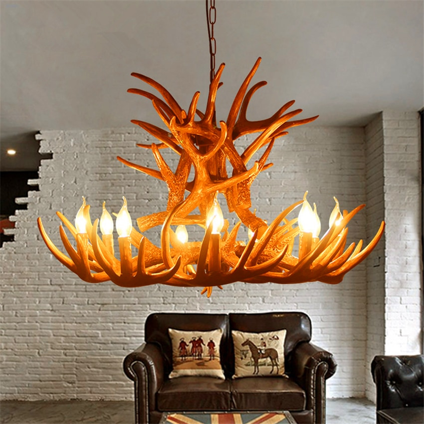 Nordic Candle Antler LED Chandelier Lighting American Retro Resin LOFT Horn Pendant Lamp Indoor Home Decoration Kitchen Fixtures