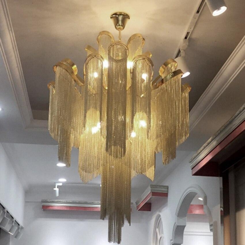 Post-modern Silver Art Chandelier Nordic Designer Engineering Luxury Chain Tassel Aluminum Chain Hinging Lamp Lighting Luminaire