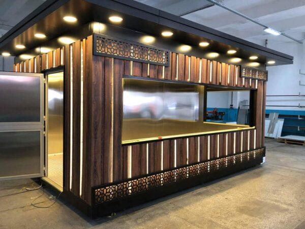مطعم و كافيه خشب الضوء مسبق الصنع نظام مع مطبخ و نظام اضاءة كامل مباني جاهزة