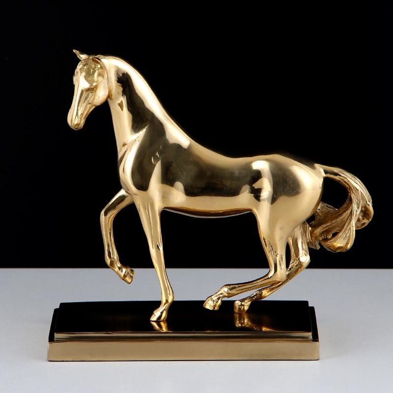 Creative Home Golden Copper Horse Decor Abstract Metal Horse Success Decor Figurine Decorative Metal Statue Best Xmas Gift