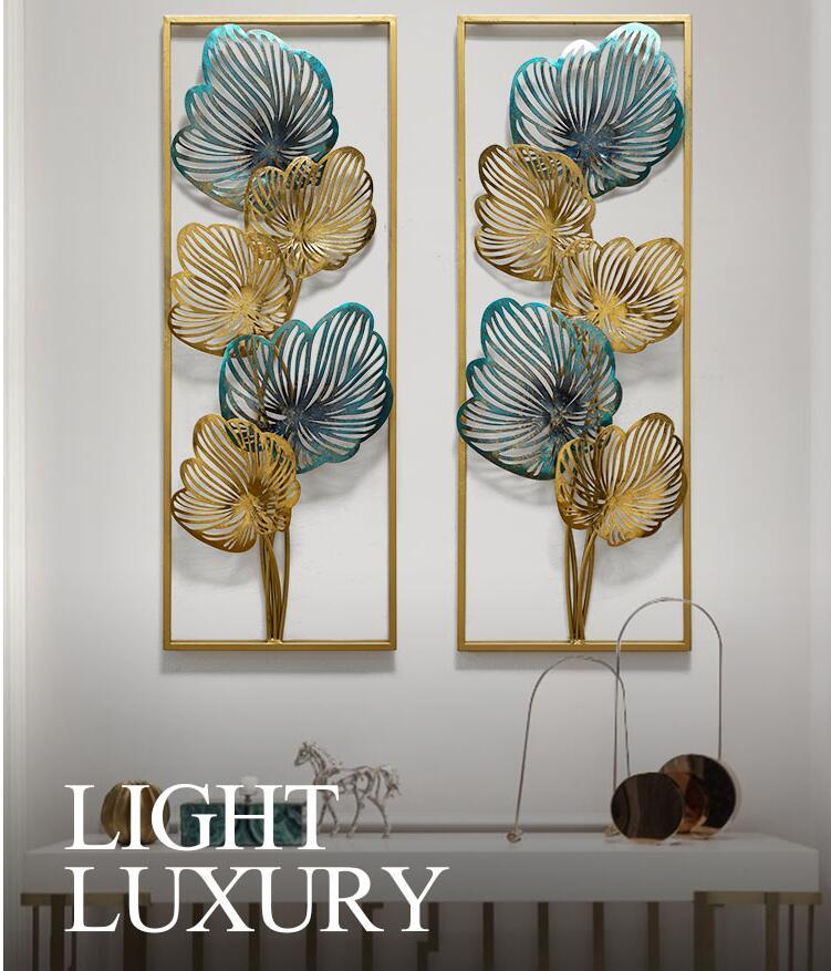 Yeni çin lüks ferforje mavi altın yaprak duvar asılı dekorasyon ev oturma odası kanepe arka plan duvar Sticker duvar el sanatları