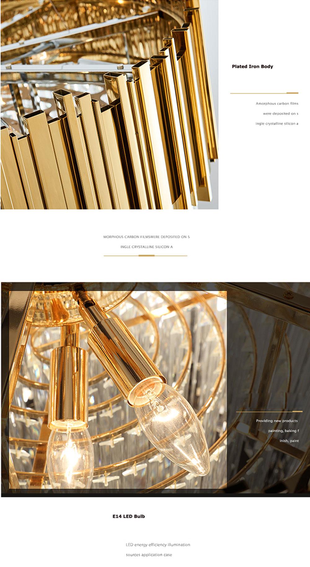 LED Postmodern Round Golden Stainless Steel Crystal Chandelier Lighting Lustre Suspension Luminaire Lampen For Dinning Room