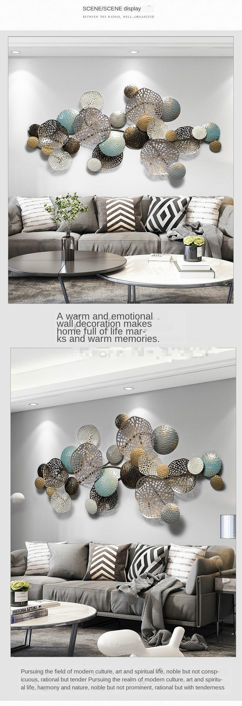 Modern stil taze lüks demir sanat duvar asılı duvar dekorasyonu oturma odası süsleme arka plan Metal duvar geometrik raf