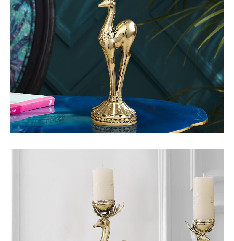 American Luxury Candle Holder Metal Gold Scented Candle Creative Deer Candlestick Home Table Decorations Candlelight Gift Ideas