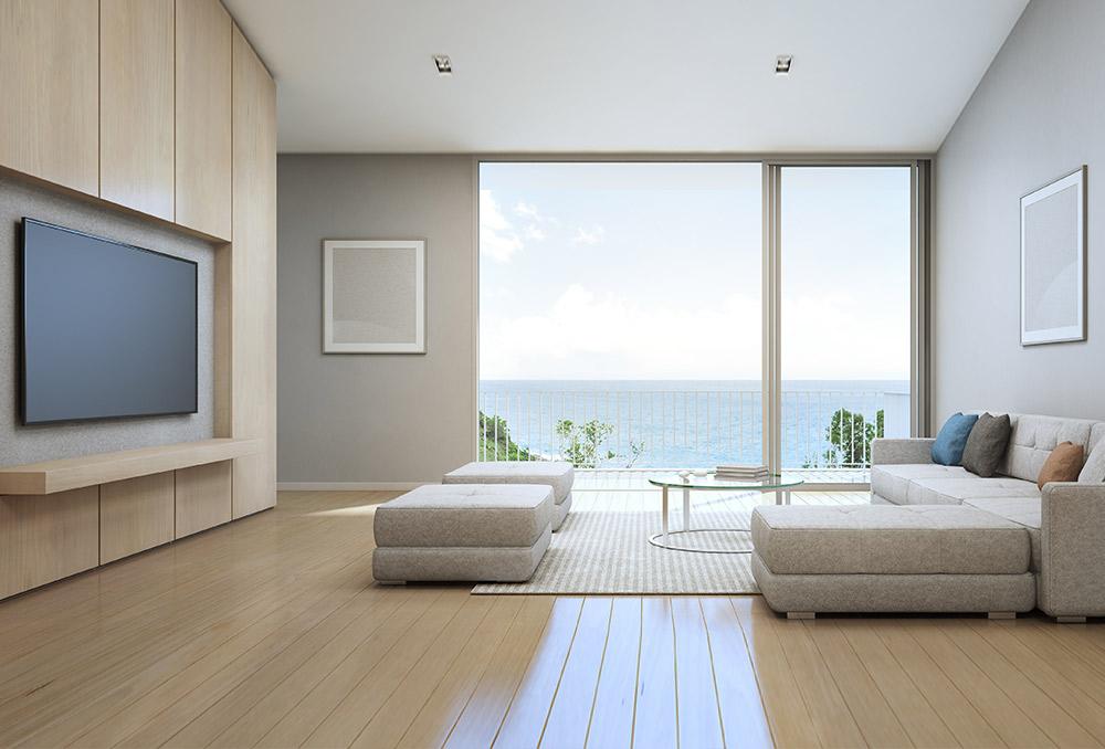 ديكور غرفة المعيشة مع تلفزيون