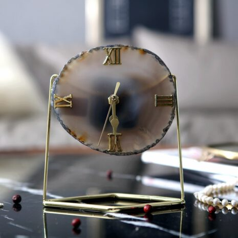 تحف ساعة حجر العقيق النادر الانكليزي اكسسوارات منزلية