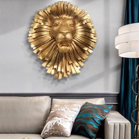 تمثال رأس الأسد الذهبي النادر اكسسوارات منزلية