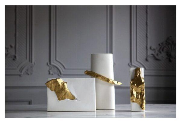مزهريات اوراق الغابة السيراميكية الذهبية اكسسوارات منزلية