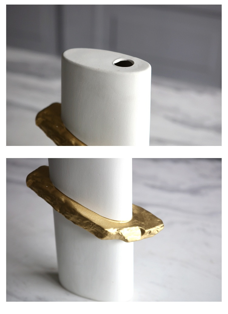Creative Gold And White Rectangle Ceramic Vase Decorative Crafts Flower Vases Hydroponic Dried Flowers For Home Wedding Decor