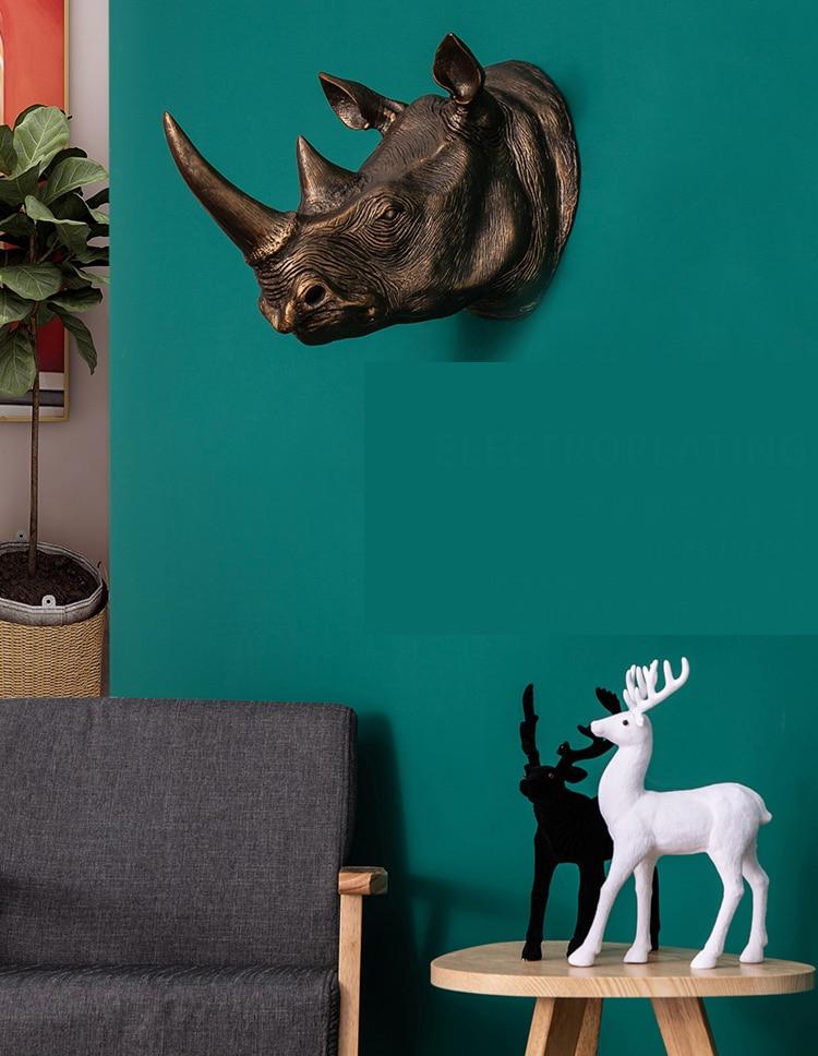 50cm Retro Gold Copper Color Animal Head Wall Hanging Decor Hotel Room Home Rhinoceros Head Statue Pendant Accessorise Gift