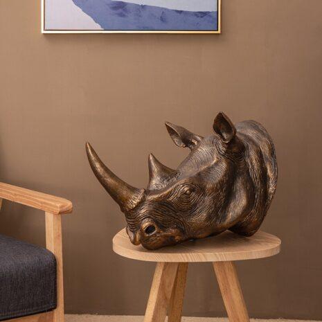 وحيد القرن النحاسي الذهبي اكسسوارات منزلية