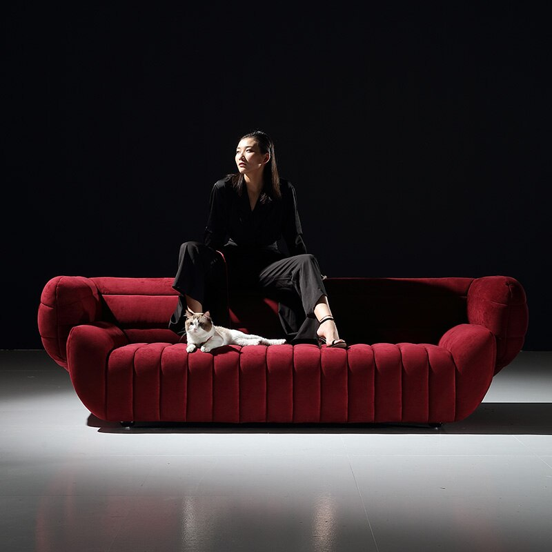 net red creative minimalist living room sofa Italian light luxury four person straight living room set sectional sofa