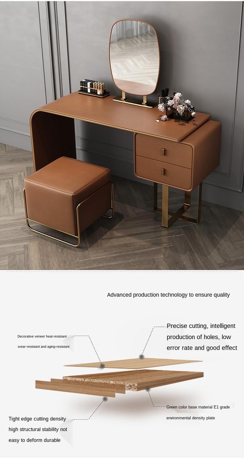 Light luxury dressing table bedroom modern minimalist makeup table and chair combination minimalist Nordic leather dressers