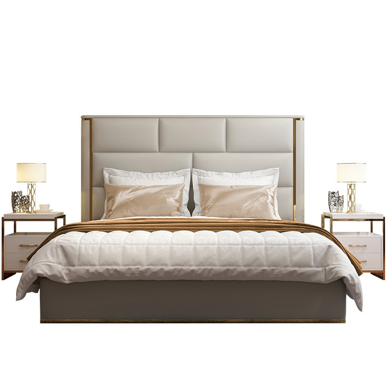 2019 luxury design stainless steel feet high quality bedroom furniture set #CE-011