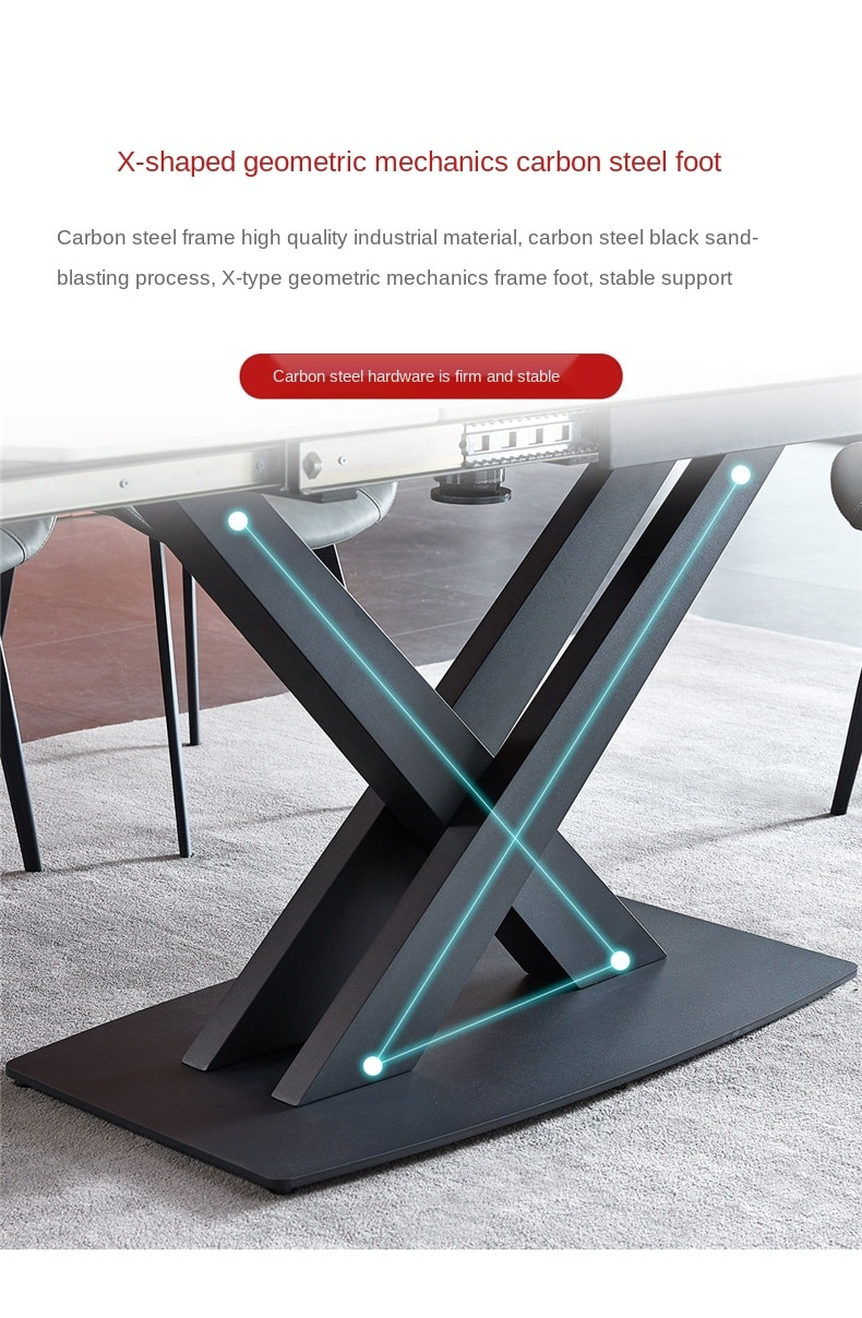 Italian Rock Plate Dining Tables and Chairs Set Simple Modern Northern European Multi-Function Household Dining Table Marble