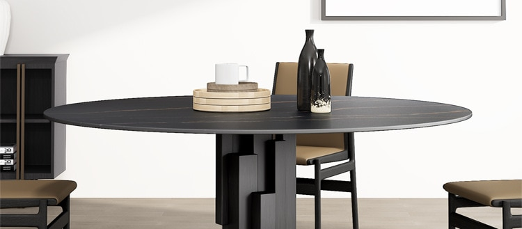 Nordic table round 6/8 people with designers imported Italian luxury rock plate table and chair combination marble table