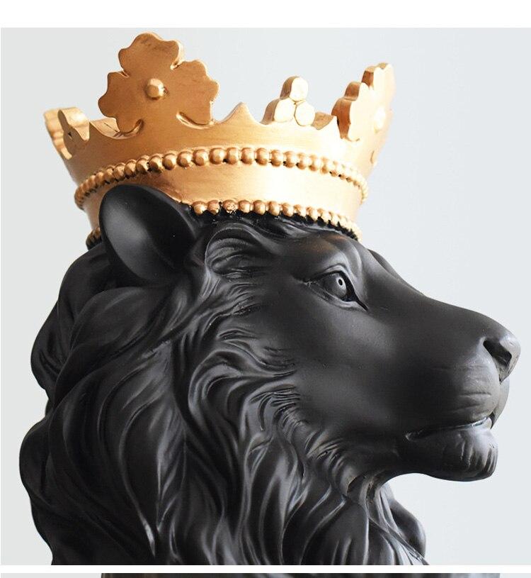 36CM 3 Colors Abstract Resin Lion Sculpture Crown Lion Statue Handicraft Decorations Lion King Modle Home Decoration Accessories