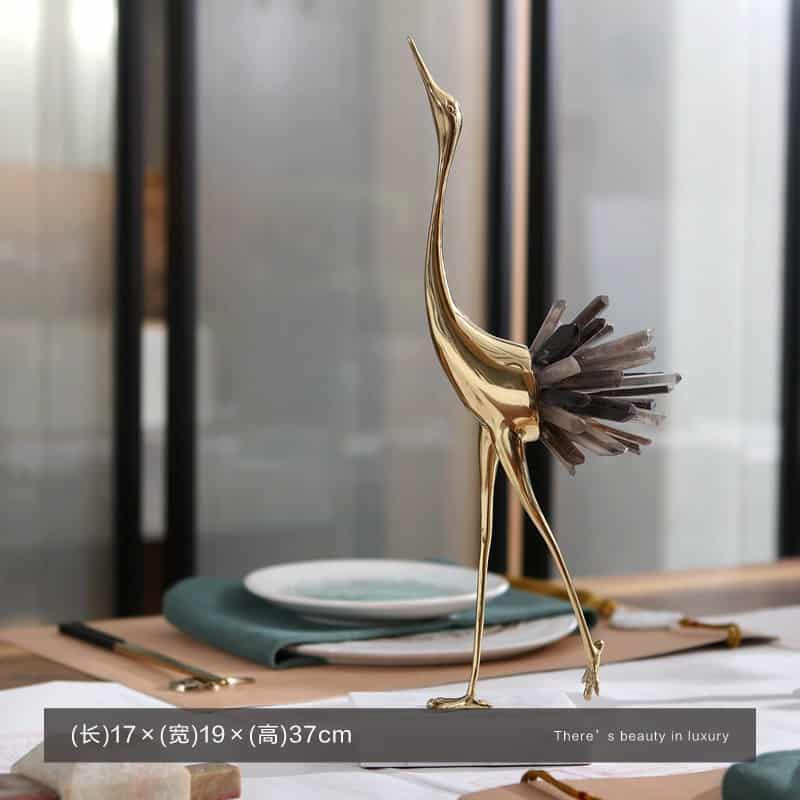 Luxurious Copper Flamingo Statue Sculpture With White Blue Crystal Tail Home Art Gift Figurines Home Decor Marble Accessories