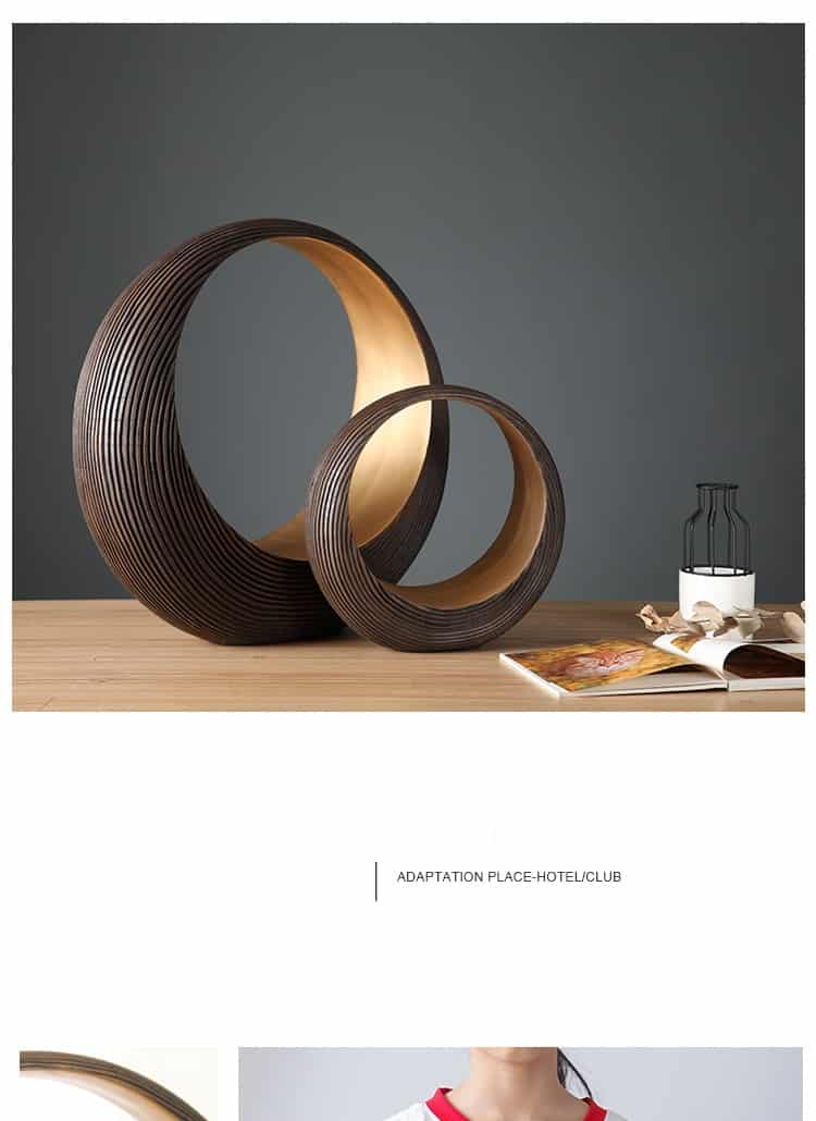 Imitation Wood Texture Hollown Circle Sculpture Home Decor Accessories Figurine Living Room Ornament Objects Office Resin Gift