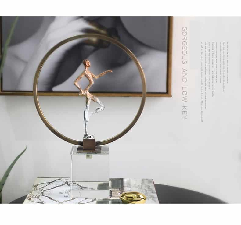 Modern Abstract Character Standing On A Square Crystal Statue Home Crafts Room Decor Objects Office Abstract Copper Sculpture