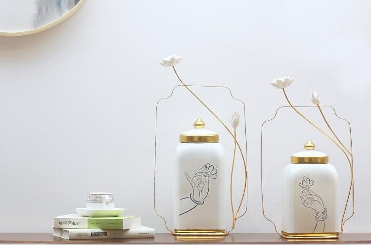 Modern Zen Hand Hold Lotus Pattern Phnom Porcelain Vase White Lotus Statue Decor Home Furnishing Living Room Desk Ceramic Jar