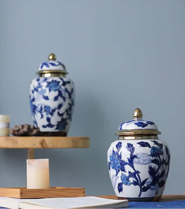 European Phnom Penh Vases Home Decor Blue And White Flower Pattern Ceramic Vase Decoration Jar Home Living Room Table Ornament