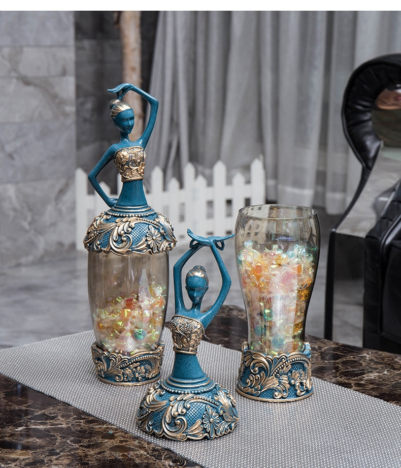 Retro Home Living Room Decoration Resin Crafts Peacock Dance Girl Sculpture Storage Jar Decoration Candy Decoration Box Jar
