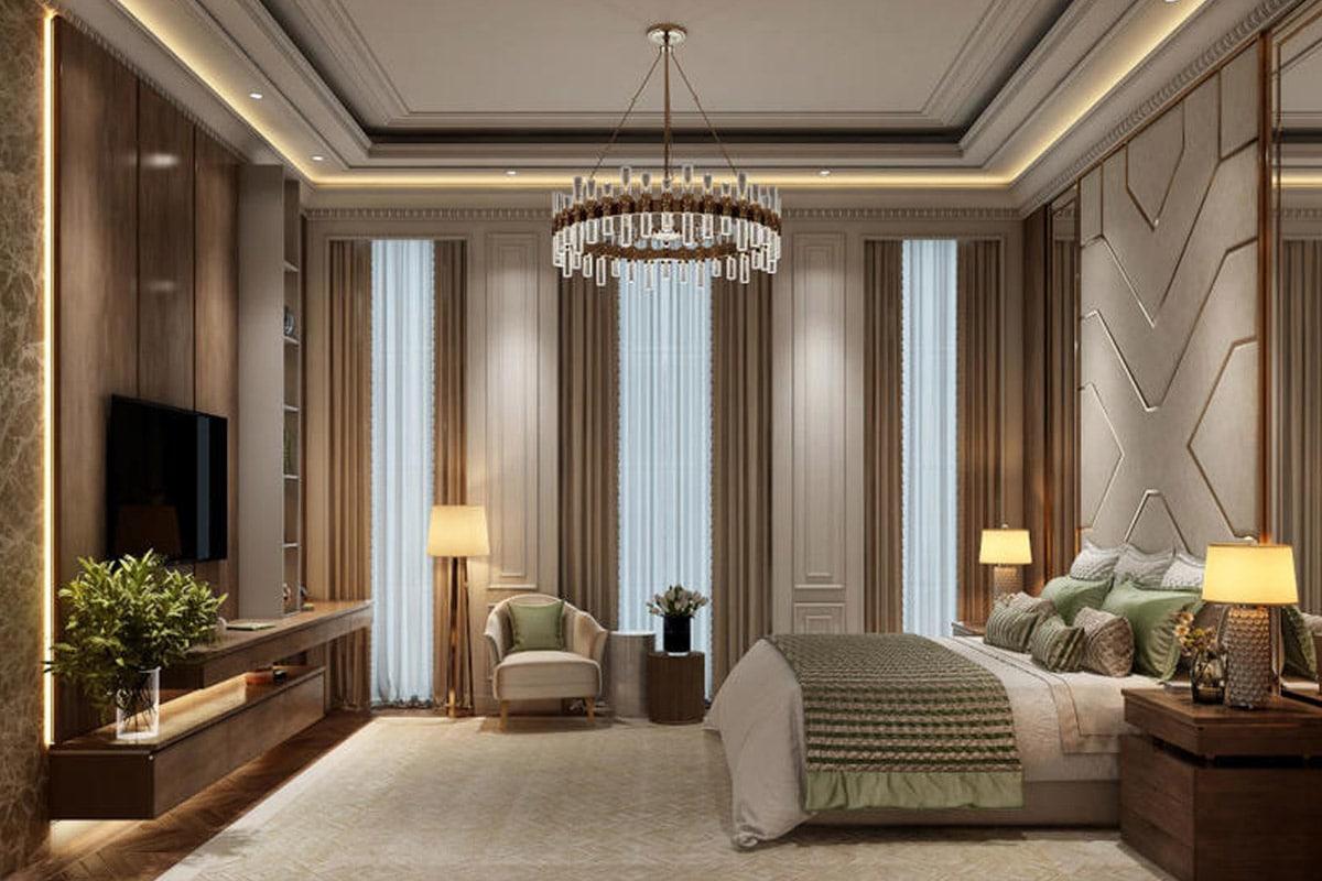 غرفة نوم فاخرة مثل جناح الفندق