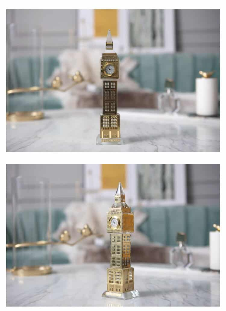 Modern Gold Elizabeth Tower Sculpture Decoration Crystal Clock Tower Ornaments Living Room Study Bedroom Soft Decor Accessories