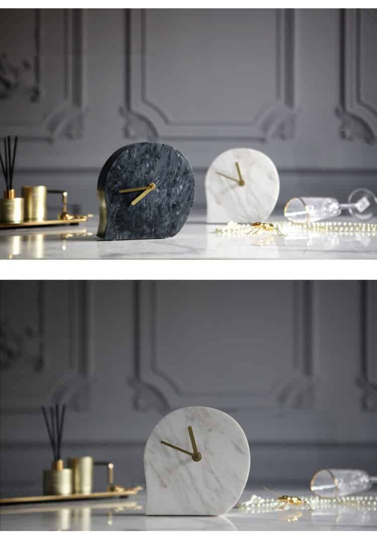 Modern Model Room Hotel Project Home Living Room Study Soft Decoration Ornaments Natural Marble Water Drop Shape Desk Clock