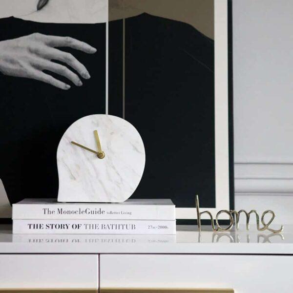ساعة الرخام المكتبية الفاخرة اكسسوارات منزلية