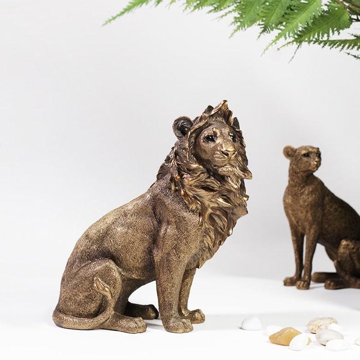 Wild Animal Statue Decor Craft Tiger Camel Lion Elephant Fox Sculpture Modern Art For Home Room Ornaments Decoration Accessories