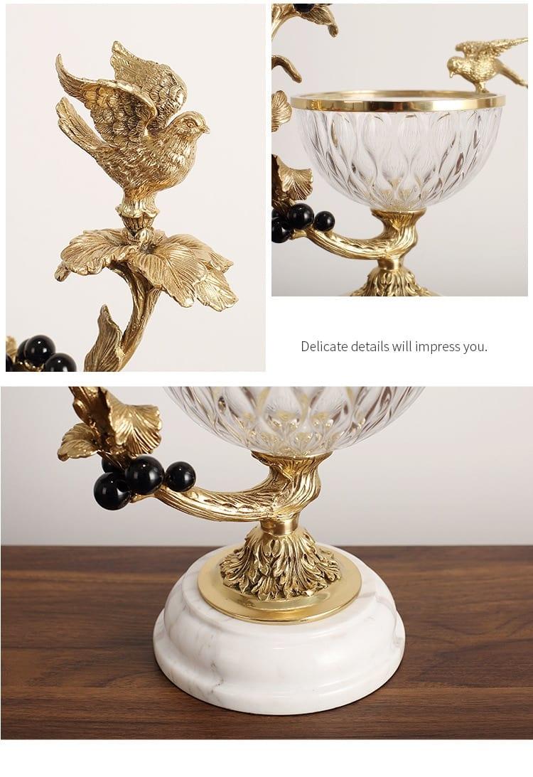 Modern Brass Bird Branch Statue Crystal Glass Fruit Plate For Home Living Room Table Marble Decor Fruit Basket Housewarming Gift