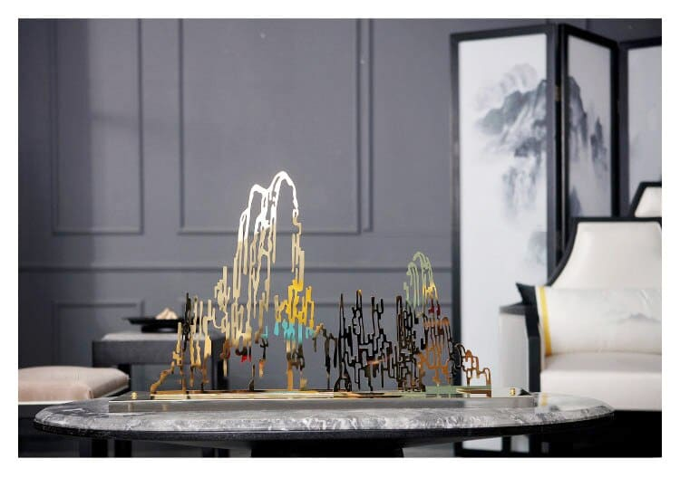 Large 85cm Modern Metal Sculpture Artwork Decor Hotel Lobby Club Soft Decor Display With Crystal Base Golden Rockery Ornaments