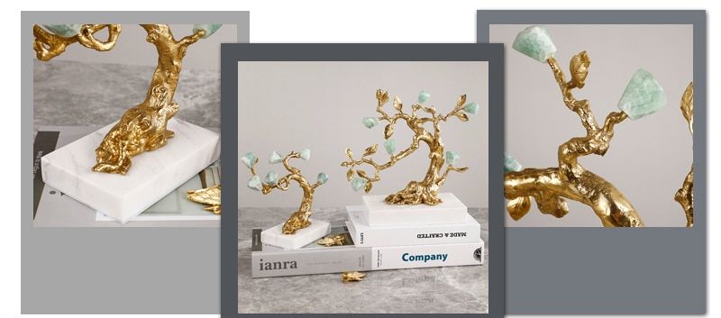 Home Decor Accessories Luxtry Copper Pine Tree Figurine Room Natural Fluorite Ornament Objects Office Hotel Marble Statue Gifts