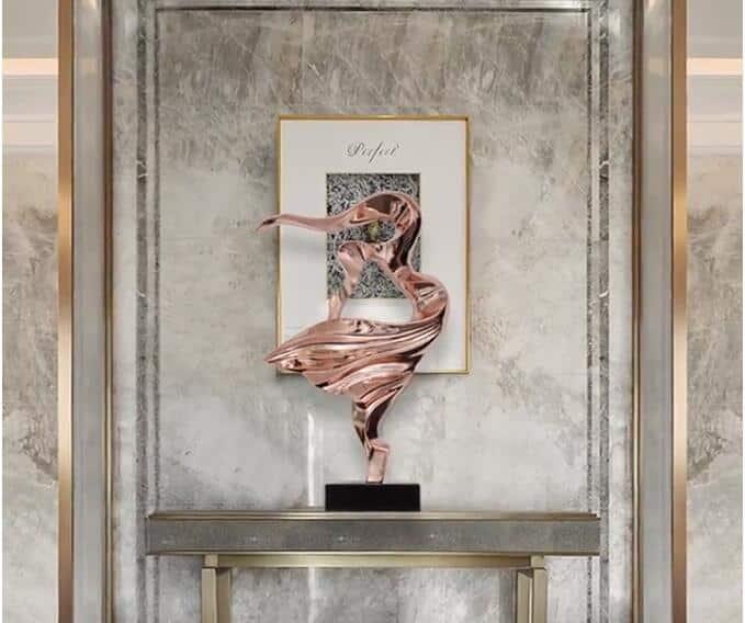 72cm Abstract Figure Sculpture Dancing Art Accessories Hotel Lobby Space Sculpture Interior Decor Plating Sculpture Crafts
