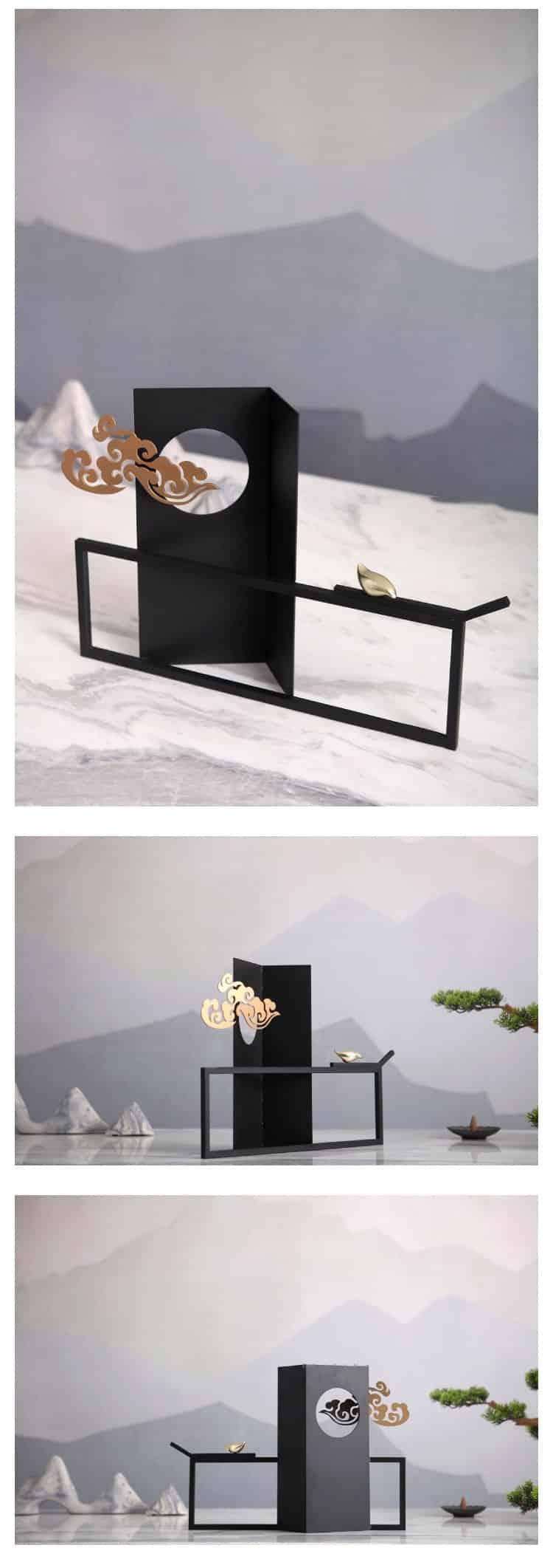 New Chinese Auspicious Cloud Round Window Wrought Iron Handicraft Ornaments Modern Home Crafts Office Desktop Decor Accessories
