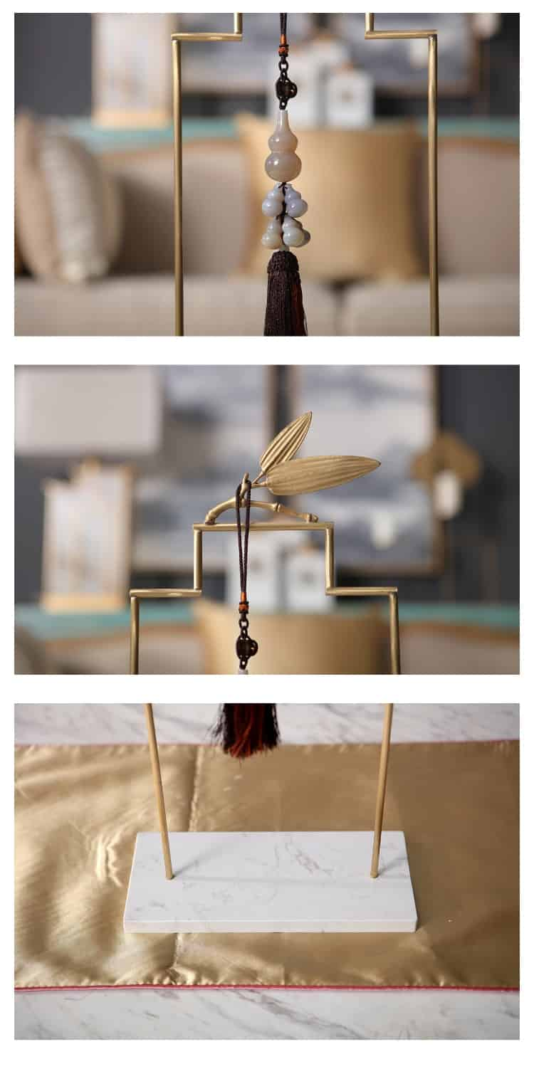 Modern Gourd Jade Tassel Pendant Creative Metal Bamboo Leaf Bracket Marble Ornament Home Furnishing Decorative Villa Clubhouse