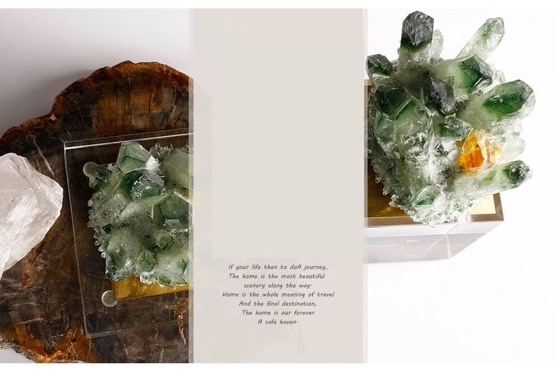 Creative Natural Green Fluorite Stone Ornament Modern Home Living Room Bedroom Office Hotel New House Crystal Art Decorative